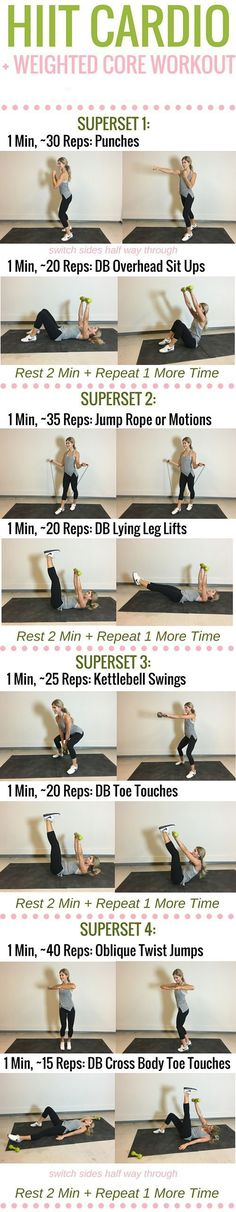Effective Cardio Workouts In Only 20 Minutes. The perfect exercise regimen is one that combines strength training and some type of cardio. The problem is, many people hate doing cardio and will compris Fitness Tips, Fitness Motivation, Health Fitness, Fitness Tracker, Fitness Pal, Tabata, Weighted Core Workout, Lauren Gleisberg, Pilates