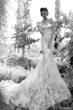 Inbal Dror 2013 lace wedding dress with delicate straps - just LOOK at that lace! WOW!