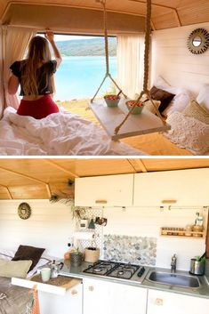Cheap & Beautiful Ideas For Your Camper van Project If you like to travel, discover beautiful and unknown places & wake up in a morning with a million dollar view. You should consider buying a van and turning it into your dream camper van & adventure Bus Living, Tiny House Living, Bus Camper, Camper Life, Camper Trailers, Travel Trailers, Sprinter Camper, Van Life, Kombi Home