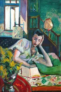 """""""Woman Reading in Bed"""" by Frederick Serger (1889-1965). Born in Czechoslovakia, he worked out of New York City from 1941 on."""