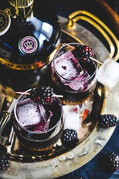 Blackberry Coulis Cocktail - A deliciously refreshing blend of blackberries, Chambord liqueur and dark rum and a little fizz  slightly sweet, a little tart and a whole lot of sexy.(could I make with gin instead? Fancy Drinks, Cocktail Drinks, Yummy Drinks, Cocktail Recipes, Wine Cocktails, Non Alcoholic Drinks, Beverages, Liquor Drinks, Chambord Liqueur