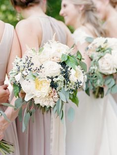 Kelly will carry a round bouquet of white hydrangeas, blue-green succulents, Juliet garden roses, viburnum berries, silver brunia, blush ranunculus and white astilbe with slight texture coming from dusty miller and parvofolia eucalyptus wrapped in blush ribbon with the stems showing.