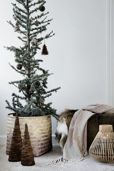 Decorated tree in a wicker basket.
