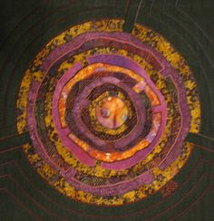 Mandala No 7 Purple Labyrint Lynda K Boardman  Medium:  Tapestry - Textile - Art Quilt Fabric Collage