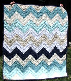 teal, khaki, white, and black chevron quilt - so cute!