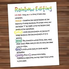Rainbow editing is an engaging way to hold students accountable for editing their papers.