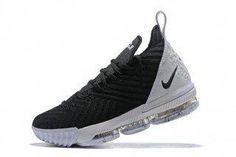 651112effa491 Nike LeBron 16 Black White Basketball Shoes For Sale