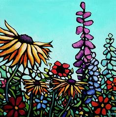 """""""Remembering Summer"""", floral painting on wrapped canvas"""