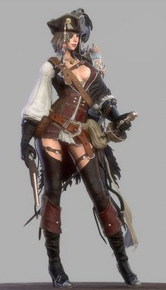 f Rogue Thief Pirate Leather Armor Hat Rapier urban city docks sea ship Fantasy Girl, Dark Fantasy, Chica Fantasy, Fantasy Warrior, Fantasy Women, Pirate Art, Pirate Woman, Pirate Life, Pirate Crafts