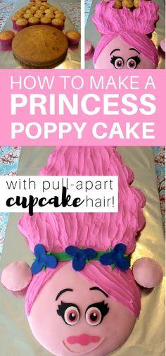 How to make a Princess Poppy cake with pull-apart cupcake hair: step by step tutorial to make a Trolls Princess Poppy Cake cake decorating tips and tricks Pull Apart Cake, Pull Apart Cupcakes, Princess Poppy Birthday Cake, Princess Cupcakes, Girl Cupcakes, Princess Party, Bolo Trolls, Trolls Cakes, Cupcake Torte