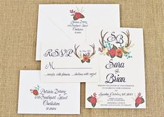 Hand Painted Floral & Deer Antler Wedding by BeholdDesignz on Etsy