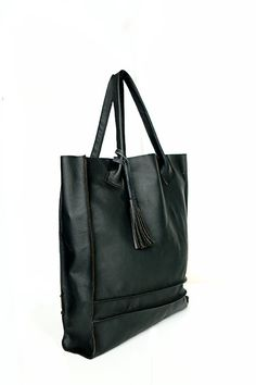 Black+Tote+Bag++Large+simple+Bag+by+PansyBag+on+Etsy,+$109.00