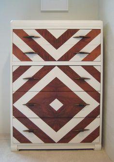 Chevron Painted Art Deco Dresser Vintage Modern by dwellbeing