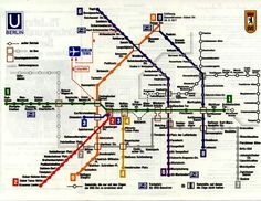 "1977 - West Berlin map of entire U-Bahn system - The BerlinWall (Sektorengrenze/Sector Boundary) is a gray ""slashed"" line. To its right, stations on a thin black line can only be reached using the the East BGV. Stations on lines 6&8 in the East are crossed out. West trains trains do not stop at these ""Geisterbahnhofe/ghost stations,"" patrolled by DDR border guards to prevent unauthorized crossings to the west. Friedrichstraße station was open - an official checkpoint between the two sectors."