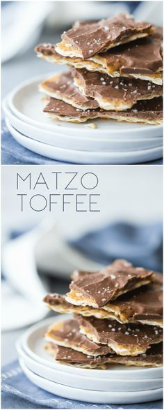 Matzo Toffee: One of the easiest desserts you'll ever make, and so totally addictive! Buttery & crisp, with a layer of smooth chocolate and a sweet-salty taste that's completely irresistible! Passover Desserts, Easy No Bake Desserts, Best Dessert Recipes, Candy Recipes, Easy Desserts, Gourmet Recipes, Delicious Desserts, Jewish Recipes, Retro Recipes