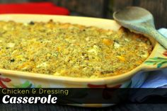 Chicken & Dressing Casserole is an easy family favorite dinner that comes together quickly with chicken, cheese, and sweet Jiffy cornbread. Cajun Dressing Recipe, Cornbread Dressing With Chicken, Homemade Dressing Recipe, Chicken Dressing, Potluck Recipes, Healthy Soup Recipes, Side Recipes, Easy Chicken Recipes, Cooking Recipes