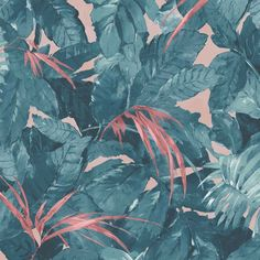 Lush Teal/Coral Wallpaper By Woodchip & Magnolia Magnolia Wallpaper, Blush Wallpaper, Orange Wallpaper, Sunset Wallpaper, Wallpaper Samples, Tropical Wallpaper, Tree Leaf Wallpaper, Botanical Wallpaper, Teal Coral
