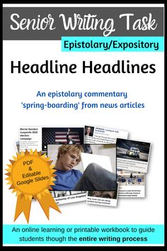 My latest senior writing task!  Epistolary writing requiring responses to news, feature or opinion articles found in the media, this is the perfect resource to send your senior English students online.  Clearly unpacked achievement criteria, time-management checkpoints, concisely explained teaching points, exemplars, hyperlinks to external websites and more make this a complete package.  Available as a Google and PDF resource.  Send it out to your students knowing every aspect is sorted! Expository Writing, Teaching Writing, Writing Skills, Exam Study Tips, School Study Tips, Social Studies Resources, School Resources, Senior Activities, Writing Activities