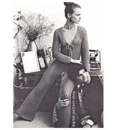 Lacy Jumpsuit Knitting Pattern Womens Knit by DigitalPatternShop