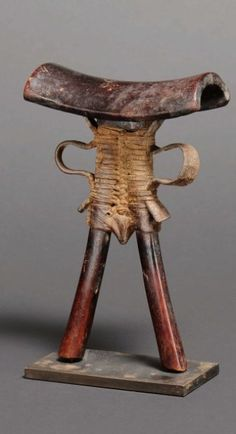 Africa | Headrest from the Pokot people of Kenya | Wood and leather
