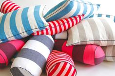 Heidi Merrick Striped Cabana Pillows are made of cotton canvas and come with down inserts Beach House Bedroom, Home Bedroom, Beach House Colors, Retro Bedrooms, Live In Style, Striped Cushions, Dash And Albert, Elements Of Design, Open House