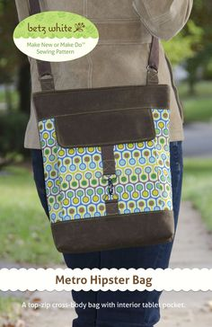 With the Metro Hipster Bag sewing pattern make a cross-body bag to get you where you're going with style and functionality.