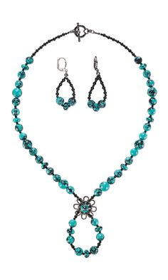 Jewelry Design - Single-Strand Necklace and Earring Set with Turquoise Beads, Black Onyx Beads and Gunmetal-Plated Brass Component - Fire Mountain Gems and Beads