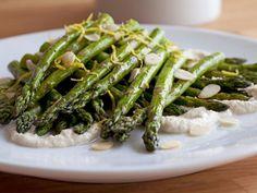 Healthy Roast Asparagus with Creamy Almond Vinaigrette
