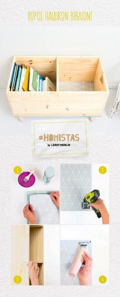 Φτιάξε αυτό το ξύλινο κουτί για να μαζεύει όλα τα βιβλία ή και τα παιχνίδια του και απόλαυσε λίγη… τρέλα λιγότερη στο παιδικό δωμάτιο! #HOMISTAS Merlin, Floating Nightstand, Magazine Rack, Storage, Furniture, Home Decor, Floating Headboard, Purse Storage, Decoration Home