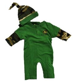 989a184b9d5 John Deere Baby Long Pant Bodysuit with Hat Green and Camo Month) Clothing  Impulse