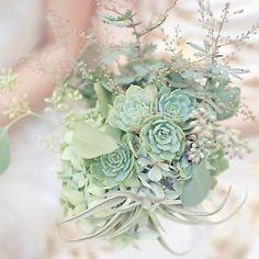 Bouquet de noiva verde, com plantas diversas e suculentas.