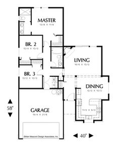 Image for Parker-Comfortable Traditional 3 Bedroom Plan-Main Floor Plan