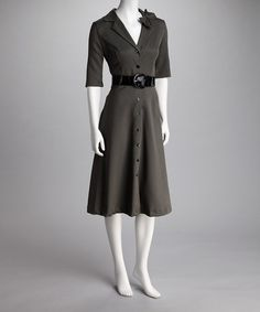 Loving this Black & Sand Belted Dress on #zulily! #zulilyfinds