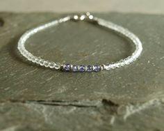Topaz Tanzanite bracelet, December birthstone, small bead bracelet, stacking, delicate tanzanite jewelry, natural fine white topaz gemstones