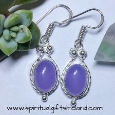 Purple Agate Gemstone Crystal Earrings Sterling Silver