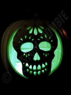 Pumpkin Stencil Sugar Skull Carving Crafts by CustomZombie, $2.00