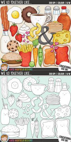 Food pairs / Valentine's clip art for teachers! | contains coloured clipart and black and white outline versions | Kate Hadfield Designs at Teachers Pay Teachers