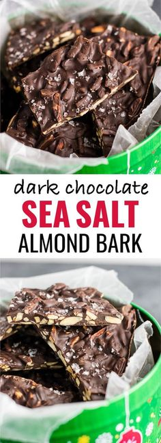 Chocolate Almond bark with sea salt. A seriously addictive + easy to make dessert! (just 5 ingredients!)Dark Chocolate Almond bark with sea salt. A seriously addictive + easy to make dessert! (just 5 ingredients! Candy Recipes, Snack Recipes, Dessert Recipes, Dessert Healthy, Vegan Recipes, Healthy Candy, Uk Recipes, Dark Chocolate Almond Bark, Dark Chocolate Recipes