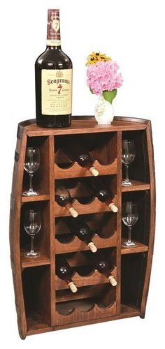 Amish Rustic Half Barrel Wine Bottle Holder Unique, rustic style wine storage uses a recycled half barrel that's beautified in Amish country. Room for 15 wine bottles with additional shelves for wine glasses. #halfbarrel #winestorage #rusticfurniture