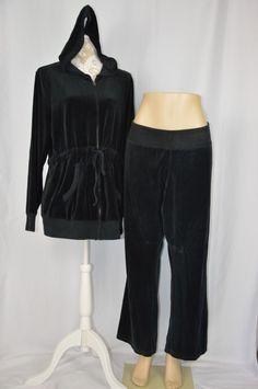 Old Navy Maternity XXL 2XL Black Velour Zip Up Hoodie Sweatshirt Sweatpant Set…