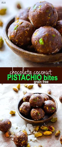 Paleo and Vegan friendly Dark Chocolate Coconut Pistachio bites! A crunchy, lightly sweet, delicious snack BITE that requires no baking! These little chocolate bites are naturally sweetened and packed healthy fats! @Lindsay - Cotter Crunch