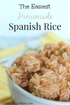 Try this easy Spanish rice recipe. You will be shocked how easy it is to make. PLUS... you will be shocked at how delicious it is too! http://eatingonadime.com/easiest-spanish-rice-recipe/
