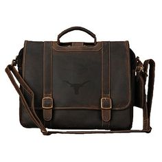 Texas Longhorns Leather Computer Briefcase