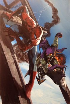 Spider-Man vs Green Goblin by Gabriele Dell'Otto