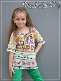 Ravelry: The Colorful mood Tunic pattern by Elena Kozhukhar Crochet Baby Dress Free Pattern, Crochet Baby Clothes, Tunic Pattern, Baby Knitting Patterns, Crochet Patterns, Crochet Tutorials, Knitting Charts, Hat Patterns, Pattern Ideas