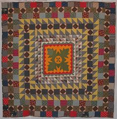 """Folky Center Medallion Quilt c.1890 apx. 72""""x72"""" Maybe from New England"""