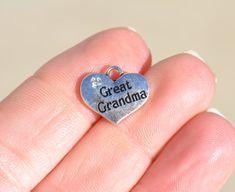 5 Silver Great Grandma Heart Charms