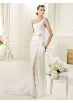 Wedding dress online shop - Chiffon One-Shoulder Strap Sheath Style with Slit Skirt 2013 Wedding Dresses 171589
