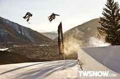 Alex Rodway and Scotty Vine. PHOTO: Darcy Bacha | Wallpaper Wednesday: The park isn't shut down yet | Transworld SNOWboarding