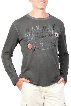 """Desigual Mens T-Shirt """"Imperdible Rep"""", 49T1441 (grey). Long sleeves men's t-shirt with unique Desigual print. Cotton, comfortable fit."""
